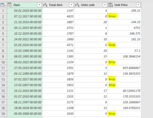Error Handler Power Query Excel